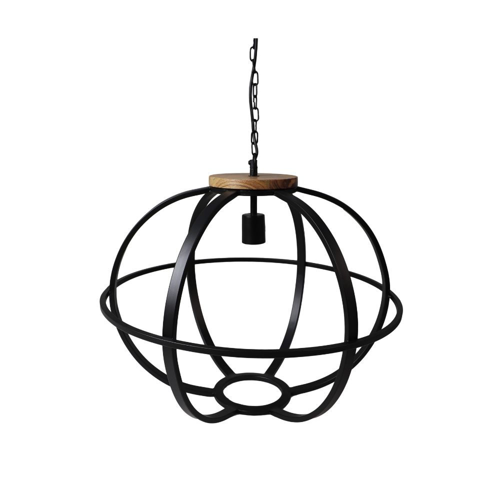 Hanglamp Michigan - ø58x45 - Zwart - Ijzer/hout