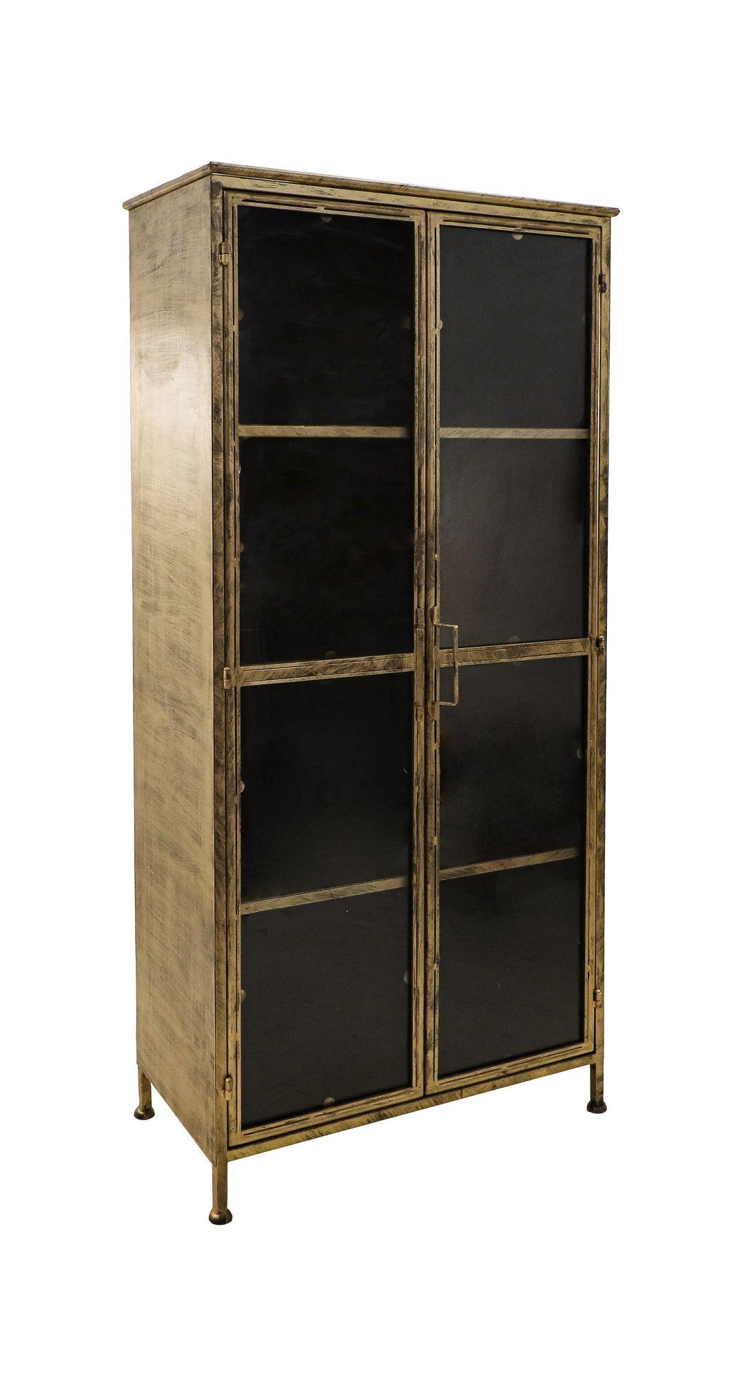 Vitrinekast Fletcher - 80x40x180 - Antique Gold - Metaal/glas