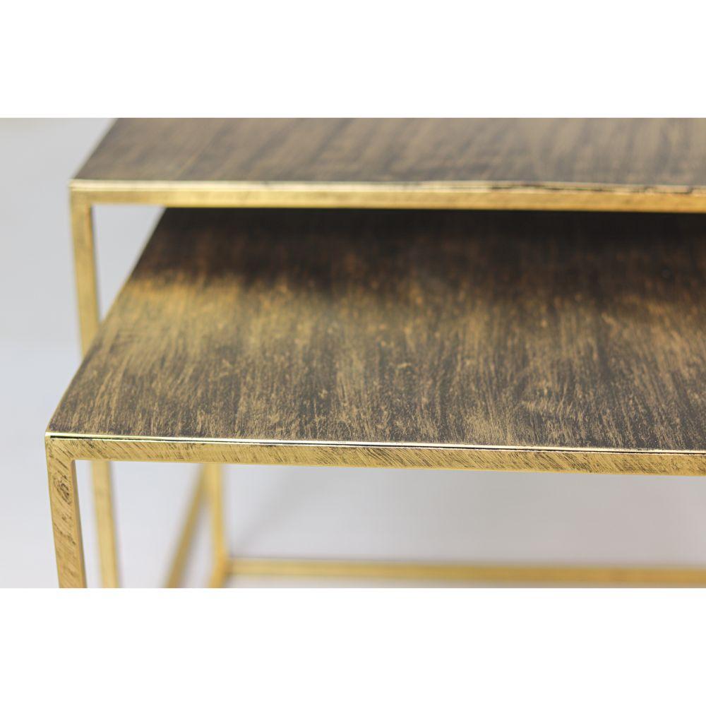 Vierkante Salontafel Fletcher -  55x42/50x37 - Antiek goud - Metaal - Set van 2