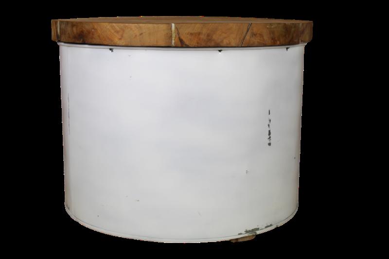 Salontafel Drum - white resin - teak/ijzer