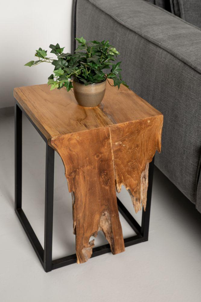 Small Flower Table - 35x35x50 - Naturel/zwart - Teakhout/ijzer