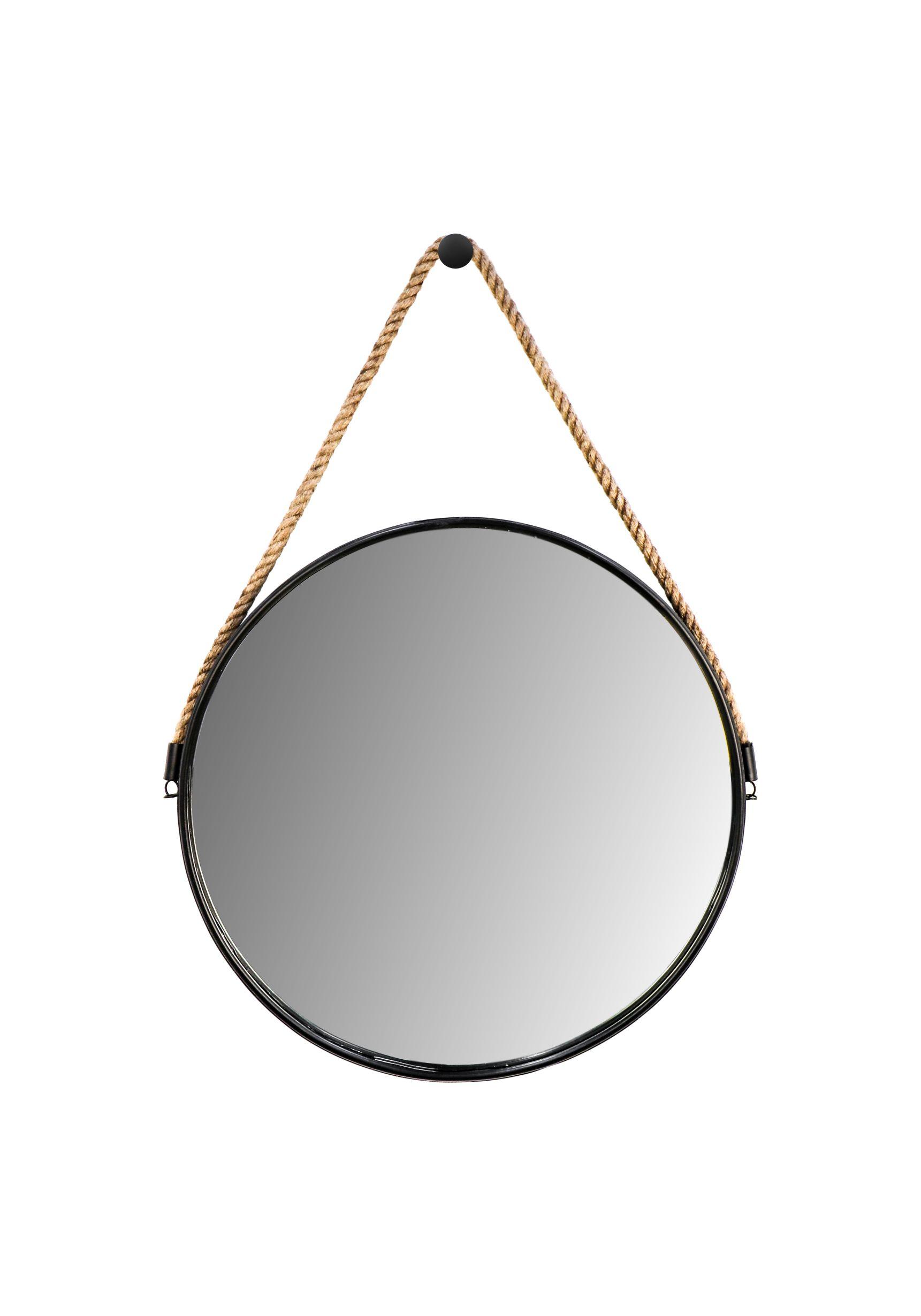 Ronde wandspiegel met touw - ø45 cm - zwart/naturel