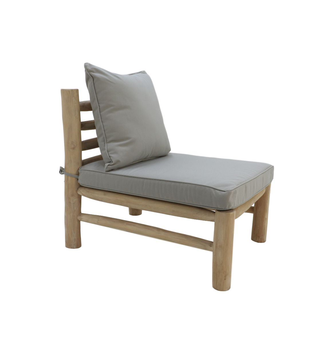 Chair bench incl. kussens - 80x60x72 - Creme - Teak/Unfinish