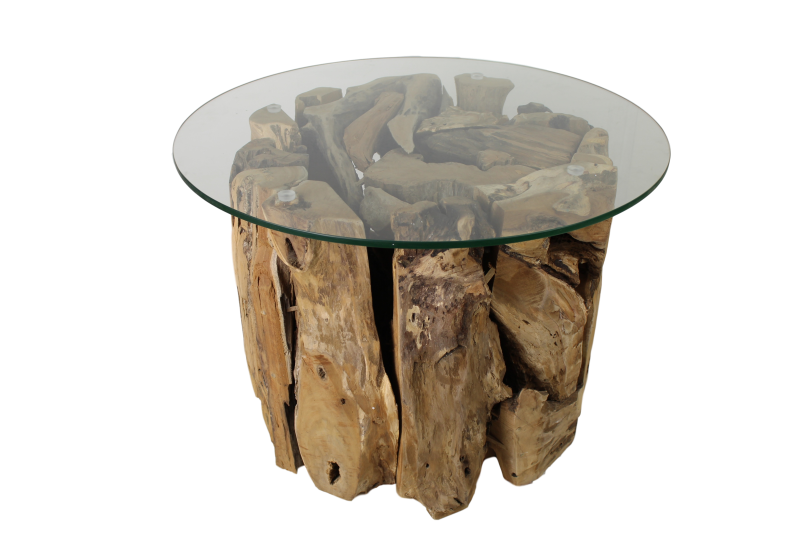Salontafel met glasplaat - ø50 cm - teak