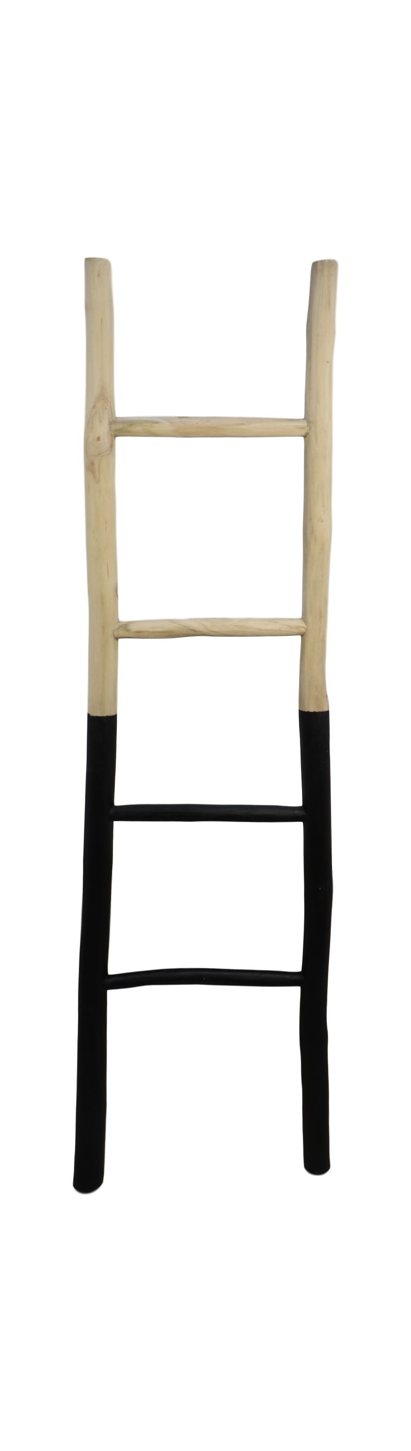 Decoratieve ladder - 45x4x150 - Naturel/zwart - Teak