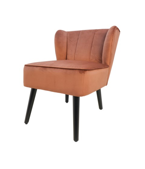 Cocktail chair Estelle - velours - koperbruin