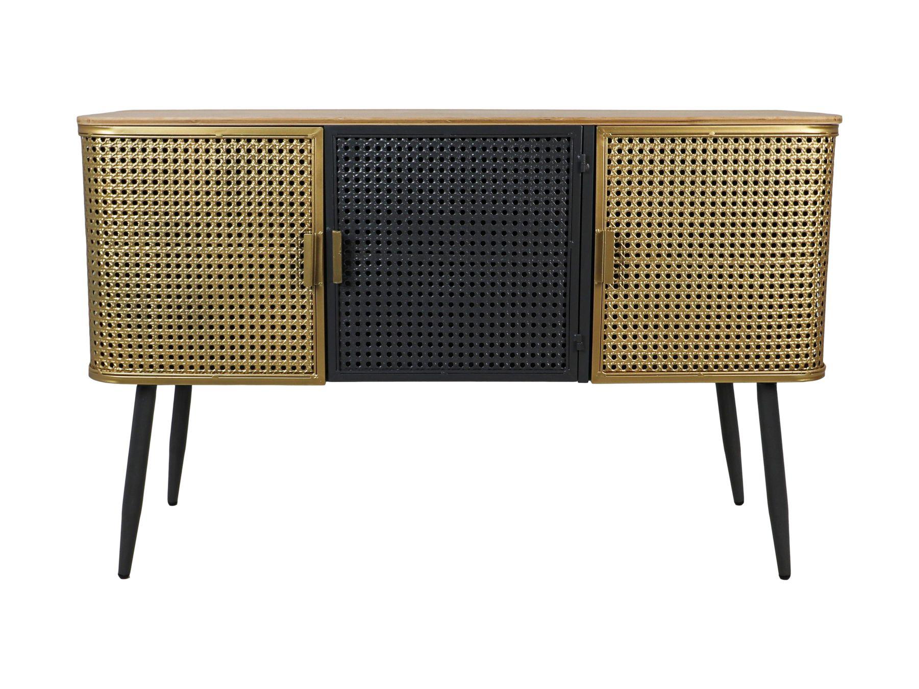Sideboard Luton - 118x38x75 - Goud/grijs/zwart - Hout/metaal