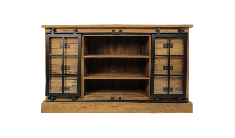 Dressoir Blackburn - glasdeuren - reclaimed teak/ijzer