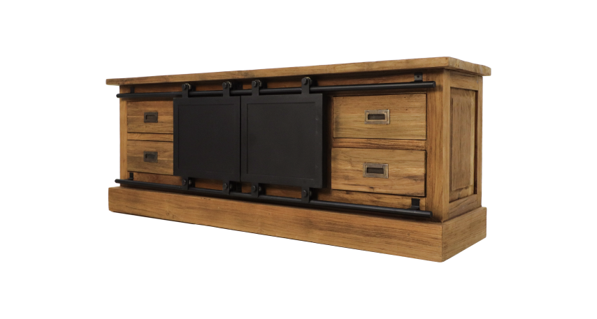 Tv Kast Onbehandeld Hout.Tv Meubel Blackburn Reclaimed Teak Ijzer Tv Meubels