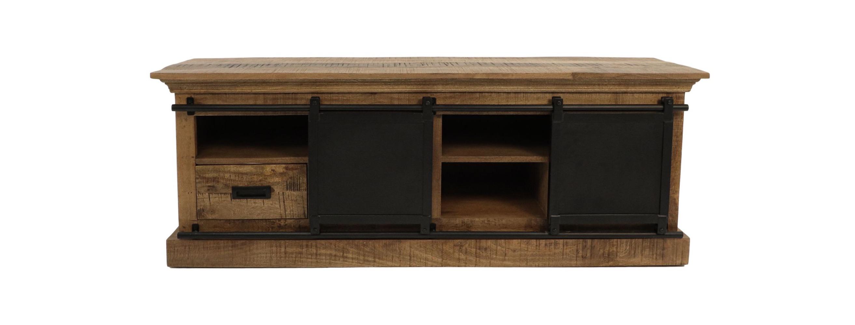 TV-meubel Melbourne - 150x45x55 - Naturel/zwart - Rustiek mangohout/ijzer