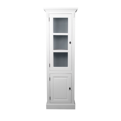 Vitrinekast Provence - deur links - wit/grijs