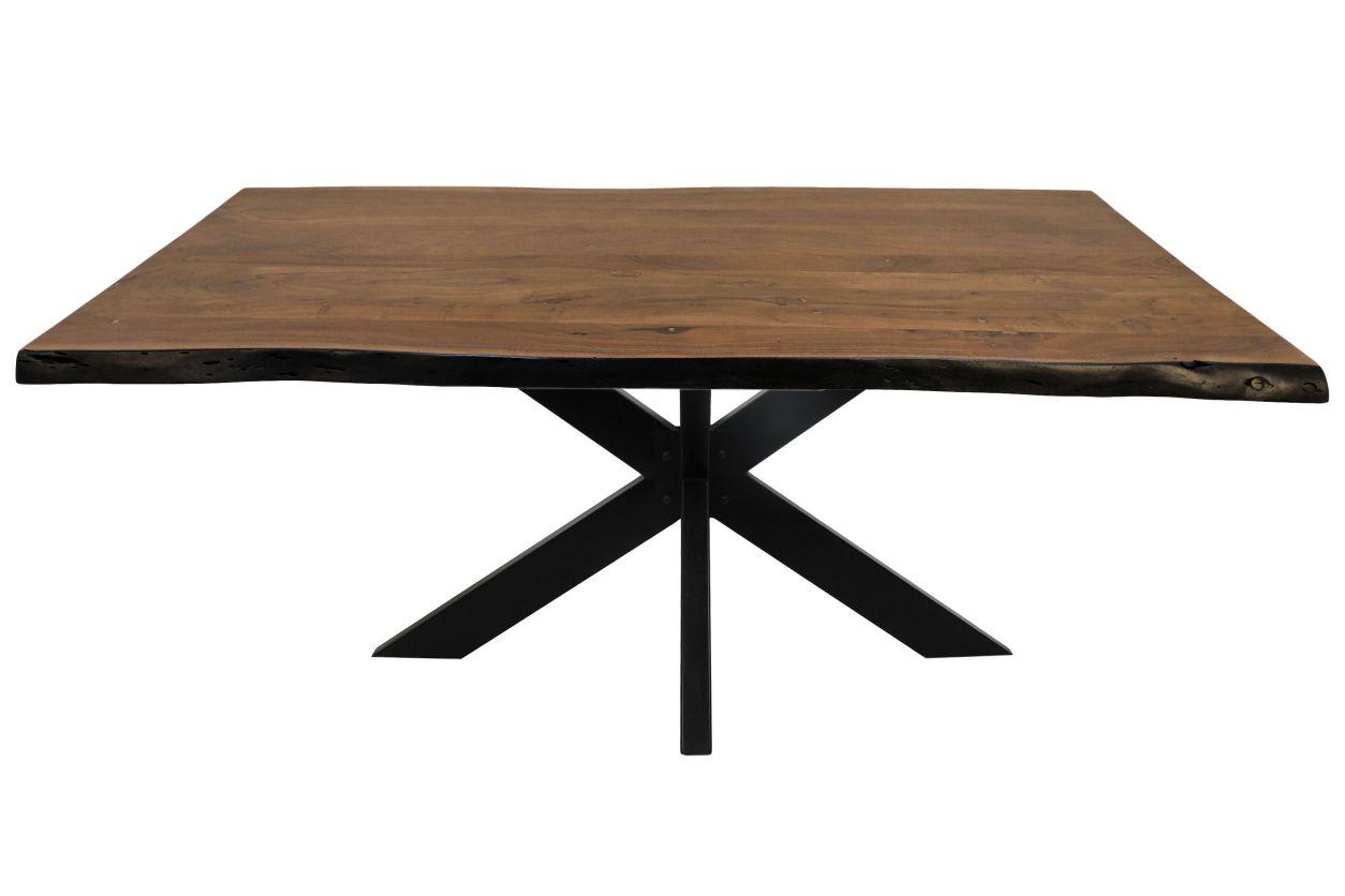Rechthoekige eettafel live edge - 220x100x77 - acaciahout/metaal