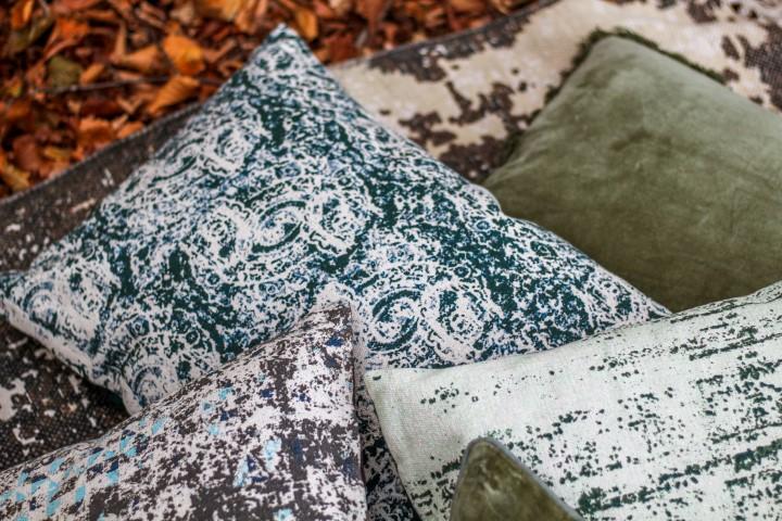 Sierkussen met print - katoen - 60x40 cm - groen/naturel/blauw