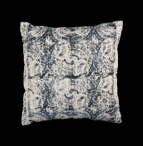 Sierkussen met print - katoen - 45x45 cm - groen/naturel/blauw