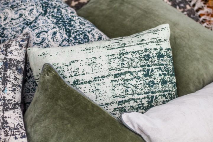 Sierkussen met print - katoen - 45x45 cm - groen/blauw/naturel