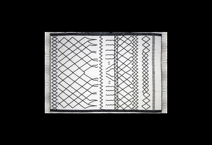 Vloerkleed - katoen - 90x60 cm - wit/zwart