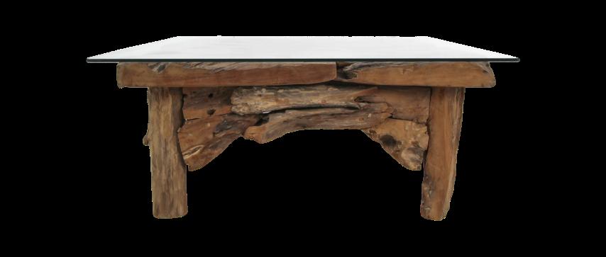 Salontafel Root - 90x90 cm - blank - teak