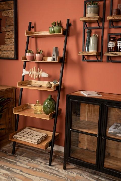 Decoratieve ladder - powdercoated black - acacia