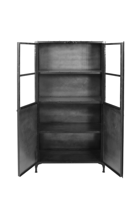Kleine Glazen Vitrinekastjes.Vitrinekast Brooklyn Ijzer Glas Natural Steel