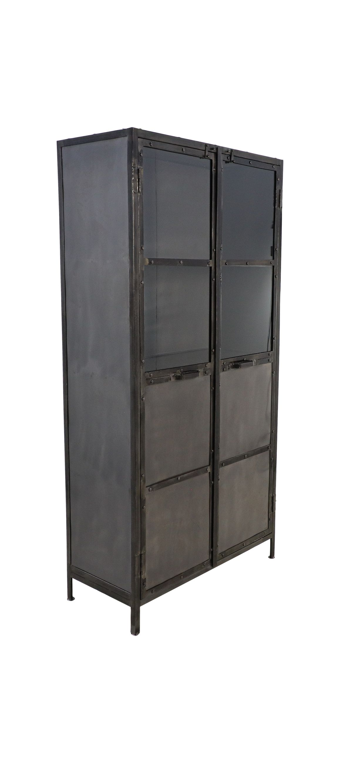 Vitrinekast Brooklyn - 90x40x180 - Natural Steel - Ijzer/glas