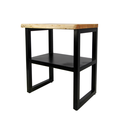 Sidetable SoHo - acacia/ijzer - powdercoated black