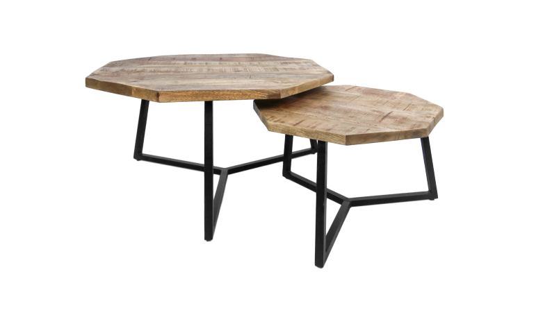 Salontafel Urban - mangohout/ijzer - powdercoated black - set van 2
