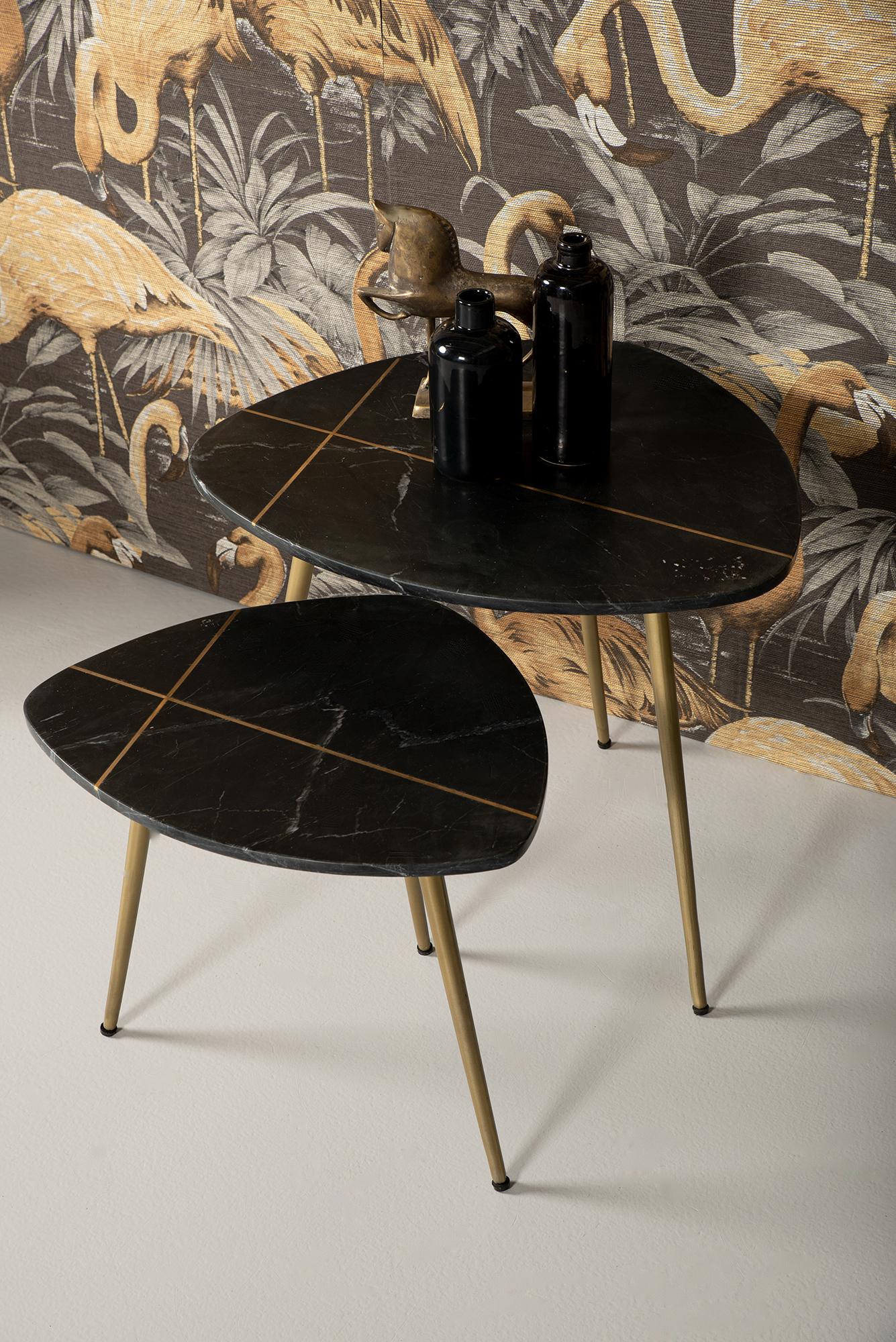 Salontafel Marseille - 60x52x46/50x40x41 - Zwart marmer/goud - set van 2