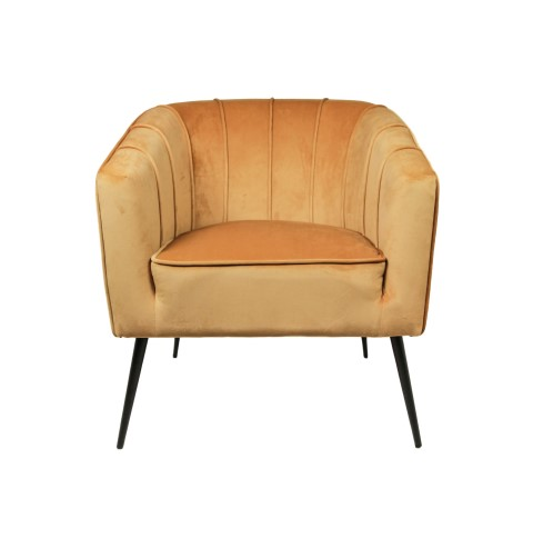 Fauteuil Chester - velours - mosterdgeel