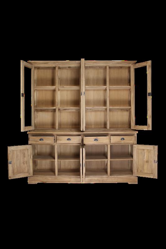 Buffetkast - 200 cm - blank - teak/glas